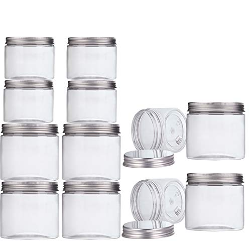 Makone 12 Packs Clear Plastic Jars with Silver Metal Lids (6pc 12oz + 6pc 5oz) BPA Free PET Food Safe Stackable Transparent Storage Container for Slime Kitchen Dry Goods (Square Silver Glass Love Candle)