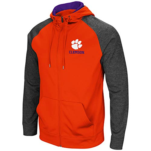 Colosseum Men's NCAA-Overtime- Poly-Fleece Full Zip Up Hoodie Sweatshirt-Clemson Tigers-XL