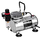 COSTWAY Professional Airbrush Compressor, Mini Quiet Air Compressor Kit with Dual Action AirBrush Spray Gun for Craftwork, Nails Tattoo and Spraying