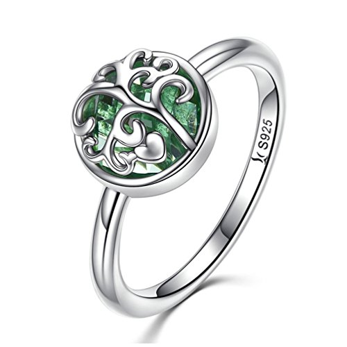MASCOTKING 925 Sterling Silver Ring Tree of Life Finger Rings for Women Jewelry Gift (Green, 6) - Box Sterling Silver Ladies Ring