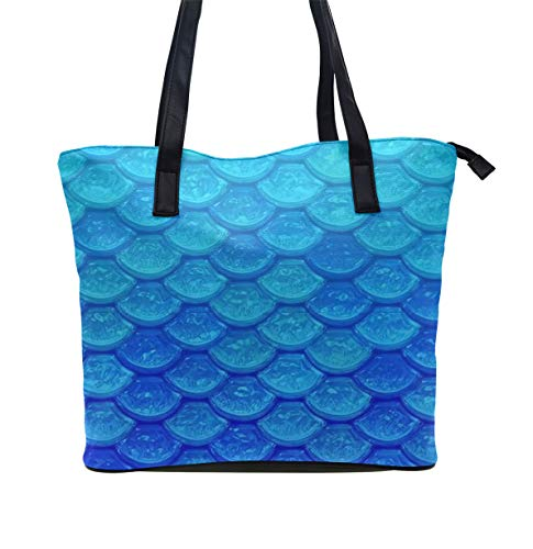 Girls Casual Travel Bag Women's Fashion Diaper Tote Bag Shopping Handbags Ocean Sea Blue Mermaid Fish Scale, Waterproof Handbag with Top Zipper Closure Convenient for Daily Use