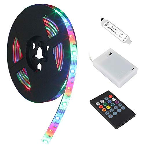 LED Strip Lights, BLIIFUU 5V Battery Case Flexible Powered RGB TV Backlight SMD 3528 IP65 Waterproof Strip Lights with 20 Keys Remote Control and Voice Control Multi Color Changing 2M/6.56ft