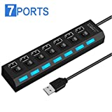 2019 Newest 7-Port USB 2.0 Hub with Individual Switches and LEDs 7 in 1 USB C Hub Ultra Slim Portable Data Hub Compatible with MacBook Pro, XPS More Type C Devices