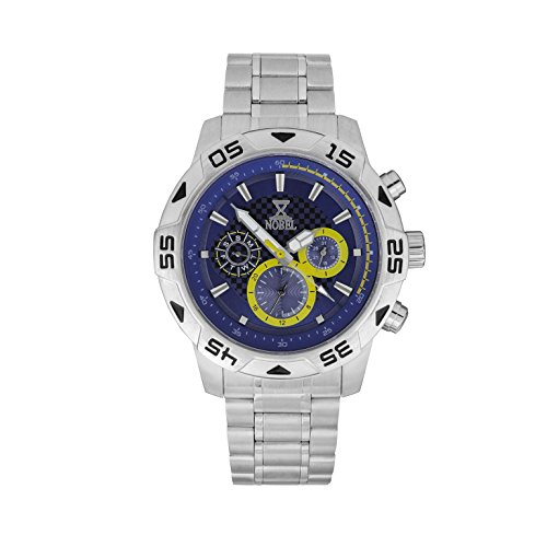NOBEL Classic Sport Wrist Watch with Stainless Steel Rotating Bezel, Black &l Blue - ISA Swiss Movement