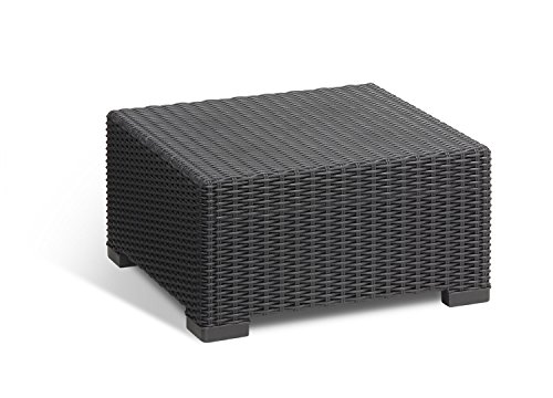 (Keter California All-Weather Outdoor Patio Coffee Table in a Resin Plastic Wicker Pattern, Graphite)