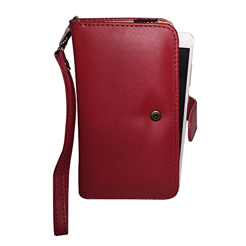 Fastway Pu Leather Pouch Carry Case Wallet Cover for Lenovo A7700 Wine Red