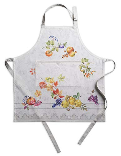 Maison dHermine Fruit dhiver 100% Cotton Apron with an Adjustable Neck & Hidden Center Pocket 27.5 Inch by 31.5 Inch.