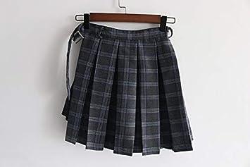DAHDXD Verano Otoño Gris Faldas a Cuadros Pantalones Cortos Falda ...