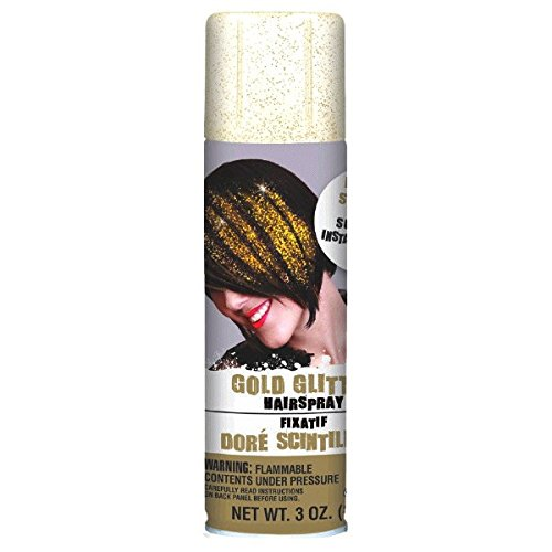 Gold Hair Spray (Amscan Gold Glitter Hair Spray, Party Accessory 3)