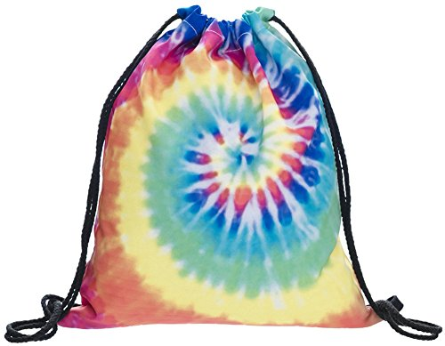 Ababalaya 3D Print Drawstring Backpack Rucksack Shoulder Bags Gym Bag (Colorful DYE)