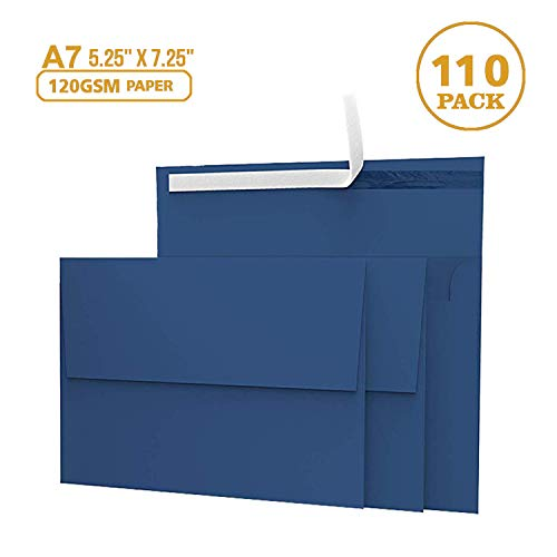 110 5x7 Navy Blue Invitation Envelopes - for 5x7 Cards - A7 - (5 ¼ x 7 ¼ inches) - Perfect for Weddings, Graduation, Baby Shower - 120 GSM - Peel, Press & Self Seal - Square Flap