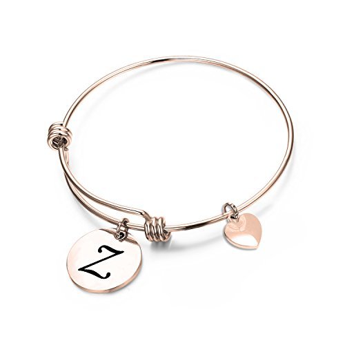 (MAOFAED Initial Bracelet,Rose Gold Letter Bracelet, Personalized Jewelry, Hand Stamped Jewelry (Rose Gold-Z))