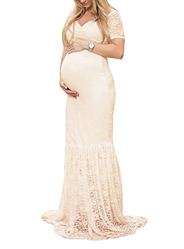 justvh women's off shoulder v neck short sleeve lace maternity gown maxi photography dress beige medium