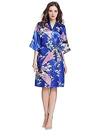 Women's Printing Lotus Kimono Robe Short Sleeve Silk Bridal Robe