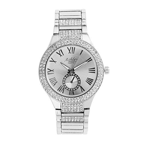 Mother's Day Feminine Style Meets Ultra Luxury with This Love Theme Ladies Jewelry Set - Shiny Crystal Bling Watch with Beautiful 3pcs Heart, Love and Stud Earrings - ST10084 Silver