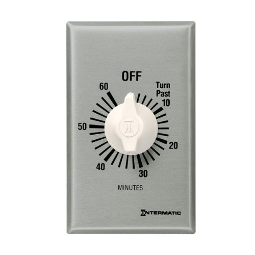 Intermatic FF60MHC Timer, 60 Minute Spring Wound Commercial Timer w/ Hold - White Dial