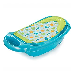Summer Splish 'n Splash Newborn to Toddler Tub (Blue) – 3-Stage Tub for Newborns, Infants, and Toddlers – Includes Fabric Newborn Sling, Cushioned Support, Parent Assist Tray, and a Drain Plug