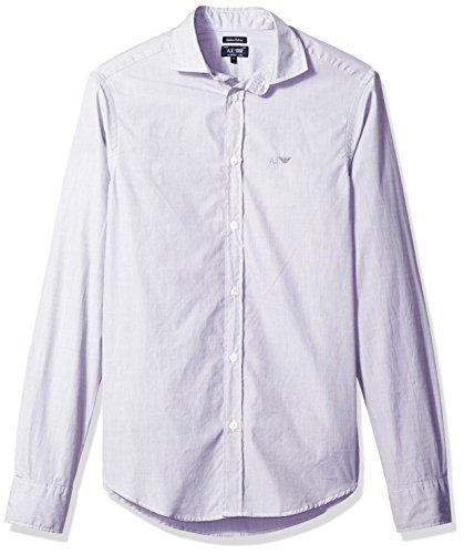 ARMANI JEANS Men's Striped/Check Basic Long Sleeve Button Down Shirt, Grey ()