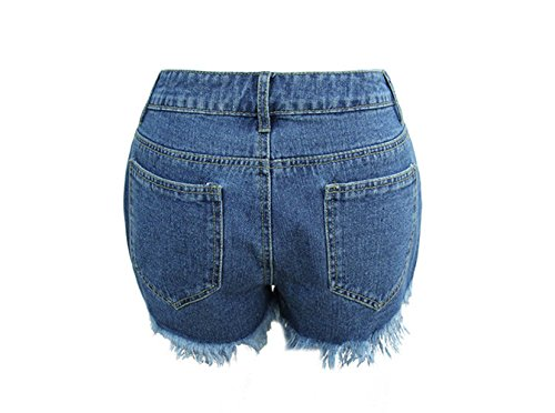 Denim Mendicante high Vita Smx denim Le waist Signore JeansRicamo Shorts Jeans Shorts blue Pantaloni shorts Pants Sexy Pantaloni Alta Vintage Navy Distressed Jeans Hot YUUq5Z