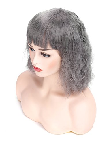 Morvally Short Curly Wavy Bob Wig with Bangs Natural Heat Resistant Synthetic Hair Cosplay Costume Haloween Party Wigs (Silver -
