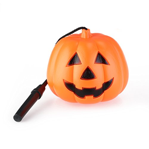 BESTOYARD Smiling Face Design Mini-Type Halloween Pumpkin Candy Basket with Pine-Branch Shaped Handle