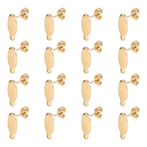 (PandaHall Elite 20 Sets 304 Stainless Steel Oval Earring Studs Ear Pin Ball Post with Butterfly Earring Backs for Earring Making Findings Colden )