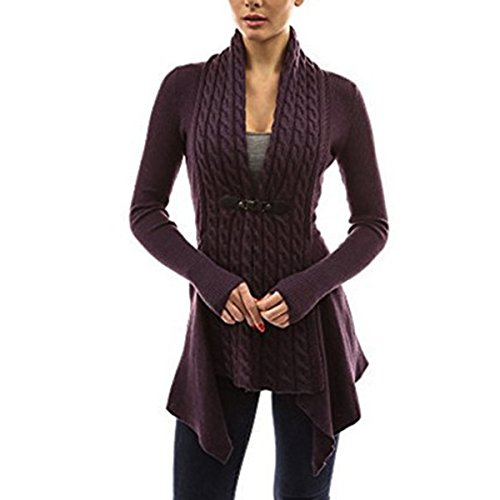 xhorizon FL1 Women's Fashion Belted Knitted Long Sleeve Blouse Tops Sweater Cardigan ()