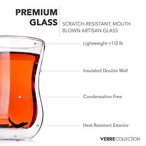 Original Double Wall Turkish Tea Glass Cups, 4.25 Ounce, Set of 2 - Insulated Thermo Glass - Verre Collection by Verre Collection (Image #1)