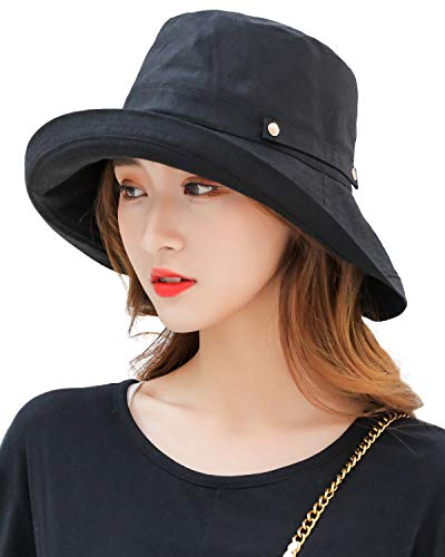 Women's Crushable Wide Brim Sun Protection Hat Packable Linen/Cotton Bucket Travel Hat w Chin Cord Black - Brim Large Bucket