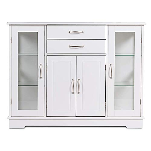 Giantex Console Table Sideboard W/ 2 Drawers, 3 Cabinets and Glass Doors for Kitchen Dining Room Furniture Entryway Cupboard Buffet Server Storage Cabinet