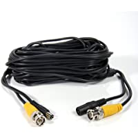 50ft CCTV Wire DVR Cord Cable Pure Copper BNC All-in-one Dual Power Video Cable For Surveillance System Security Camera Black 2 Pack