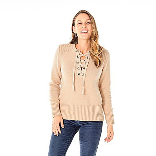 Carve Designs SWIM32 Women's Harper Sweater, Camel w/ Gold - XS