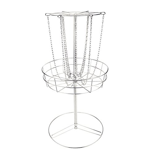 Popsport Disc Golf Basket 55 Height Portable Disc Golf Basket with Double Chains Portable Practice Target Steel Frisbee Hole Disc Golf Target for Disc Golfers (White) by Popsport