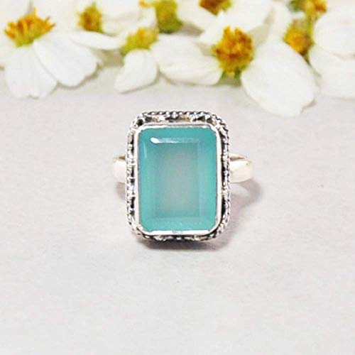 Peruvian Blue Opals - Sivalya Cushion Cut Natural Peruvian Opal Ring for Women in 925 Sterling Silver - Exquisite Hand-crafted Design in Solid Silver - Size 7