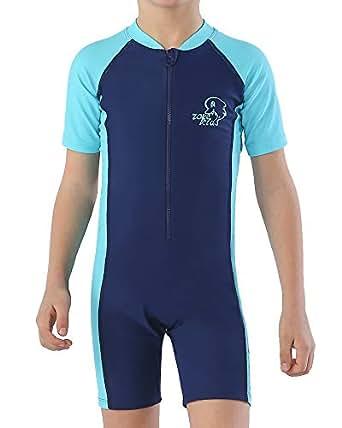 Karrack Boys Rash Guard UPF 50+ Short Sleeves One Piece Swimsuit for Grils Kids Water Sport - Blue - 10(120cm/22-24kg)