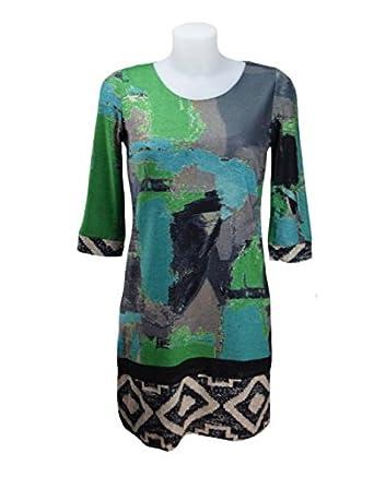 8988e802a2b4 LULU-H Green and Turquoise Tunic Dress (M 10): Amazon.co.uk: Clothing