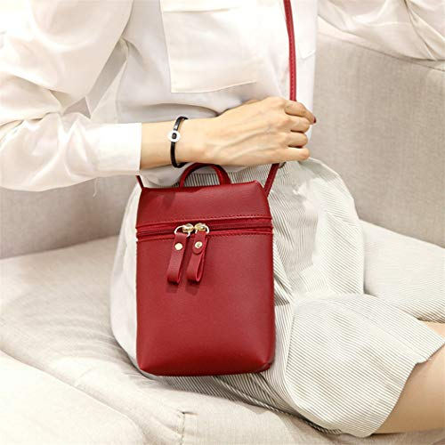 Women Color Candy Purse Phone Bag One Alixyz Backpack Black Small Bag Messenger Shoulder Mobile Wine aSwqxdE