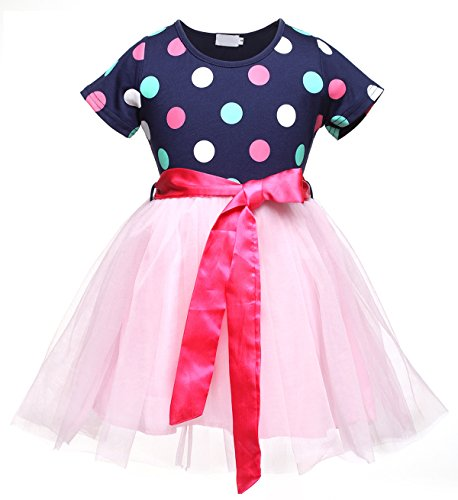 Maygold Little Girls Christmas Dresses Short Long Sleeve Polka Dots Printed Tulle Tutu Dress Stripe Outfits (Little Mass Sundress)