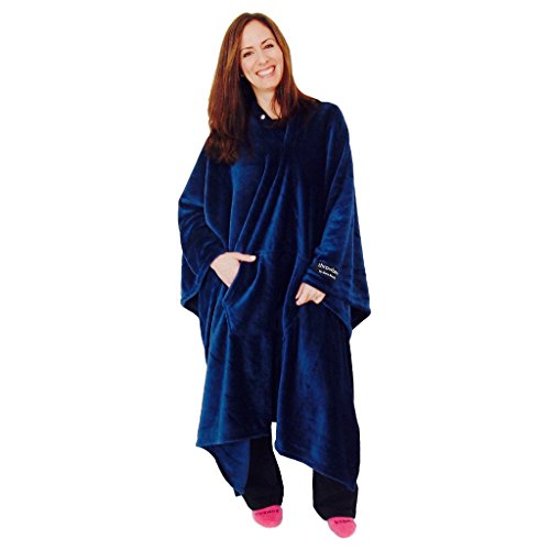 throwbee Original Blanket-Poncho Blue (Yay! NO Sleeves) Wearable Throw The Most Comfortable and Softest Ever!!! Indoors or Outdoors - Men Women Kids