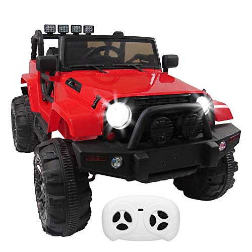 YQiu Kids 12V Ride On Cars 3 Speeds SUV Electric Truck Cars Power Wheels RC Toy w/ Remote Control,MP3 aux,Spring Suspension,LED Headlights -