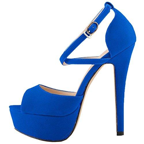 5 Dress HooH Heel On Stiletto Platform Pumps Women's Shoes Blue High Slip Wedding Bxqx4w7F
