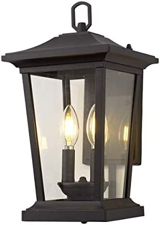 Smeike Outdoor Wall Sconce, Exterior Wall Mount Lighting Fixture with 2 Lights, Patio Porch Lantern Light Fixtures in Matte Black Finish with Clear Glass, 40W