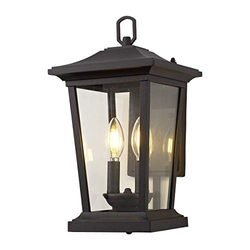 Outdoor Wall Sconce, Exterior Wall Mount Lighting Fixture with 2 Lights, Patio/Porch Lantern Light Fixtures in Matte Black Finish with Clear Glass, 40W ()