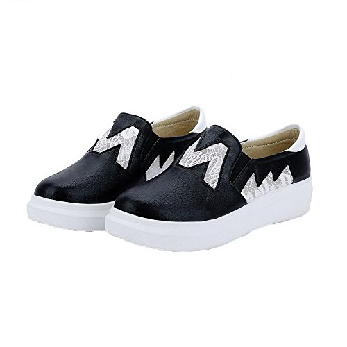 Amoonyfashion Femmes Talons Bas Solides Pu-orteils Pull-on Pompes-chaussures Noir