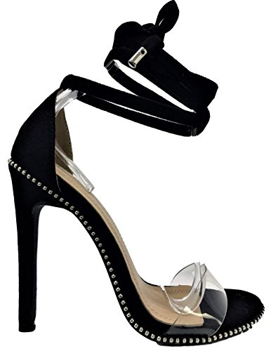 6 Women Tie Up Stiletto High Heel Sandals Studs Clear Strap Black 10 (Stud Strap Tie)