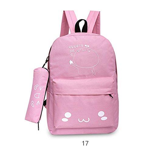 Espeedy Mujer coreana viaje mochila con estuche de lápiz de nylon dibujos animados de impresión damas bolsas de hombro niñas Escuela de estudiantes bolsa 17