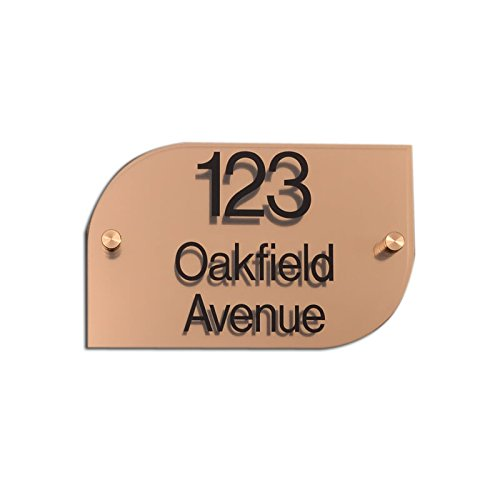 Metallic Acrylic House Signs | Brushed Brass Effect | Half Rounded Rectangle | 200 x 130 signs & numbers