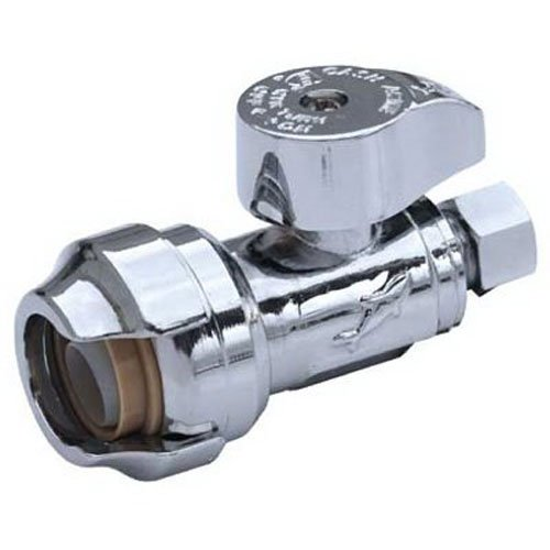 SharkBite 23037-0000LFA Straight Stop Valve 1/2 inch x 3/8 inch, Compression Fitting, Water Valve Shut Off, Push-to-Connect, PEX, Copper, CPVC, PE-RT ()