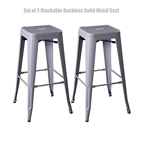 Classic Vintage Style Office Dining Room Chair Stackable Backless Solid Metal Seat Indoor Outdoor Counter Bar - Stool set of 2 Stool/ Grey - Discount Code Co And Ivory
