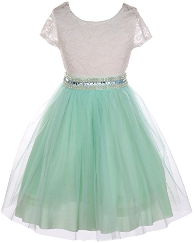 Little Girl Cap Sleeve Lace Top Tulle Stone Belt Flower Girls Dresses (20JK45S) Mint 6